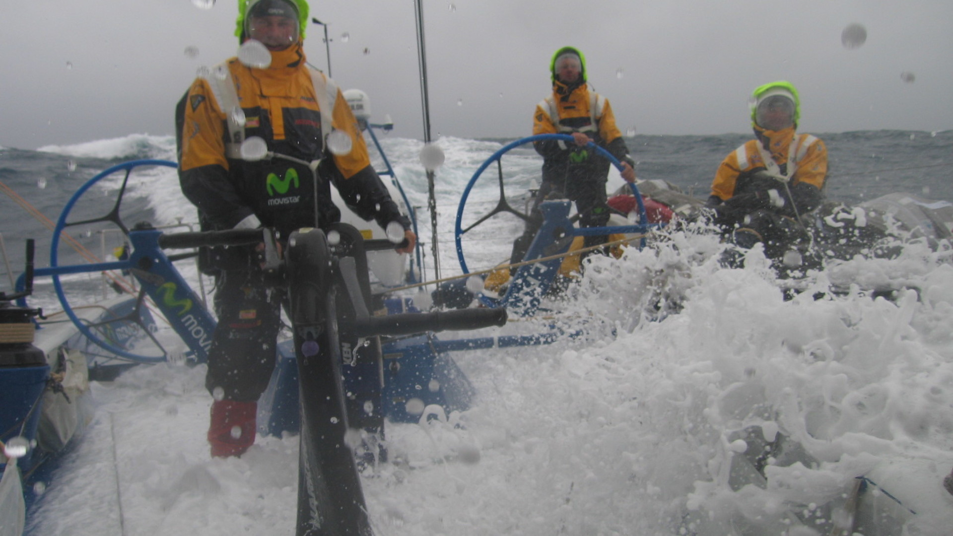 Water everywhere as Volvo Open 70 movistar sails downwind day 10 Leg 2 Cape Town to Melbourne.